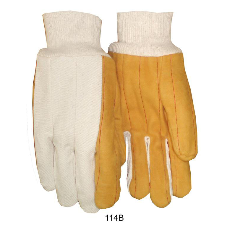 Item Number 114B - Quilted Golden Brown White Back 14 oz. Knit Wrist Gloves