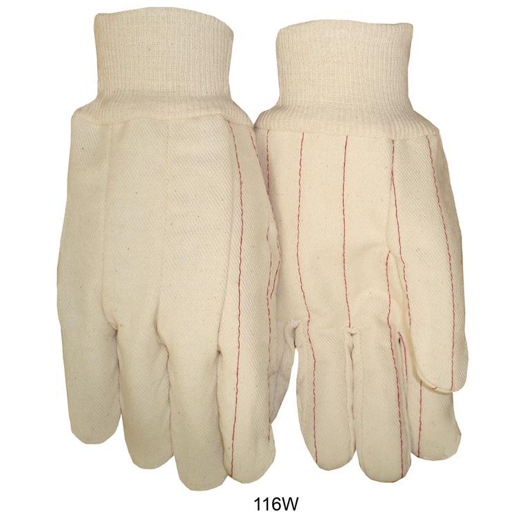 Item Number 116W - Quilted White Double Palm 16 oz. Knit Wrist Gloves