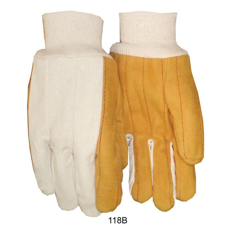 Item Number 118B - Quilted Golden Brown White Back 18 oz. Knit Wrist Gloves