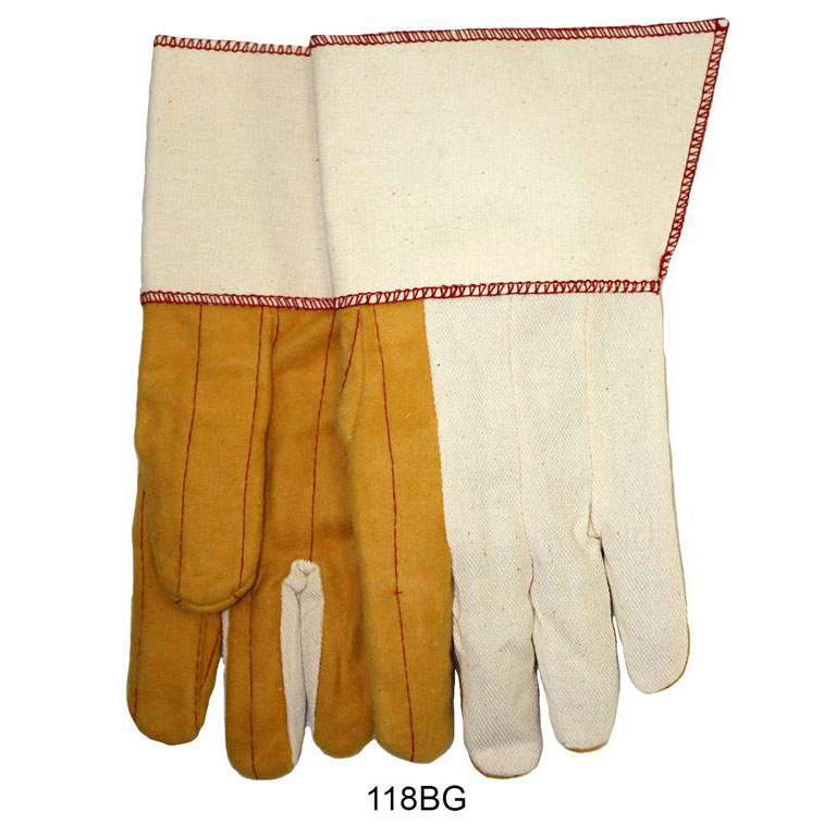 Item Number 118BG - 18 oz. Golden Quilted Palm, White Back and Cuff Waterproof Gauntlet Gloves