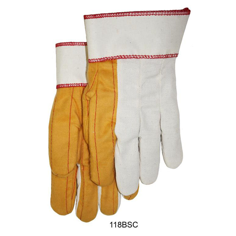 Item Number 118BSC - 18 oz. Golden Quilted Palm, White Back and Cuff Waterproof Safety Gloves